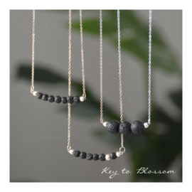 Lava Rock Necklace Bar - Silver