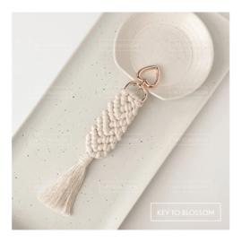 Macrame Key Chain - White