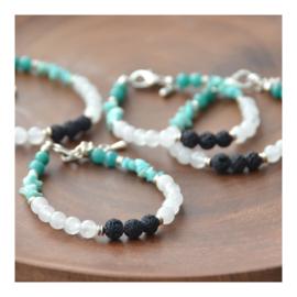 Lava Rock Bracelet with gemstones - Amazonite and Snow Quartz