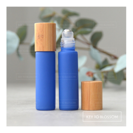 Rainbow Roller Bottle (10ml) with Bamboo Cap - Blue (matte)