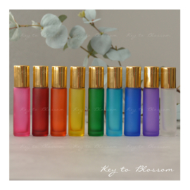 Rainbow Roller Bottles (10ml) with Shiny Golden Caps - Set of 9
