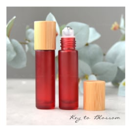Rainbow Roller Bottle (10 ml) with Bamboo Lid - Red