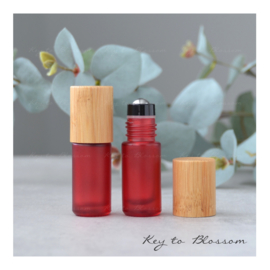 Rainbow Roller Bottle (5 ml) with Bamboo Lid - Red