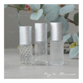 Glazen Roller 5 ml - Brushed Silver (diverse opties)