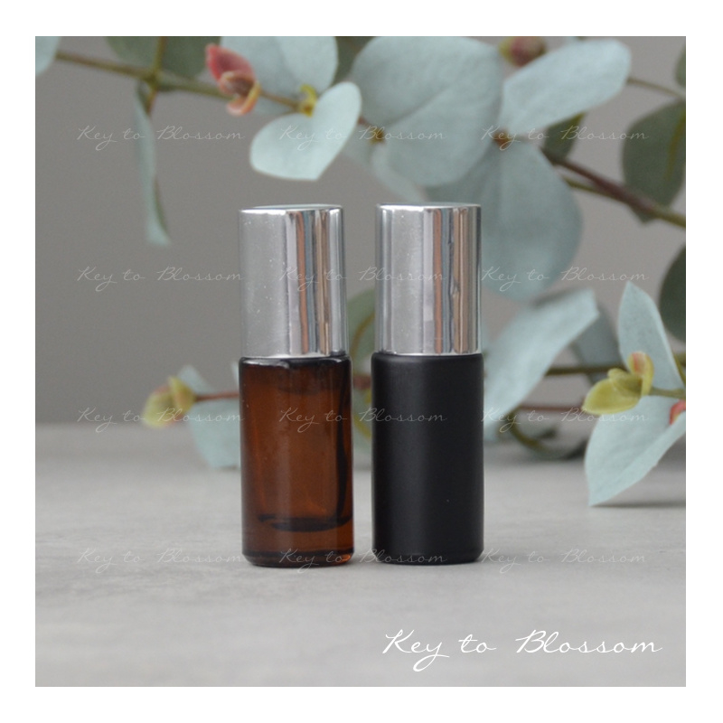 Glass Roller Bottle (5ml) with Shiny Silver Cap