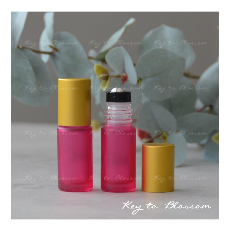 Rainbow Roller Bottle (5ml) with Matte Golden Cap - Pink