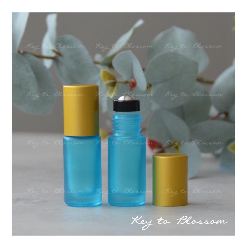 Rainbow Roller Bottle (5ml) with Matte Golden Cap - Light Blue/Teal