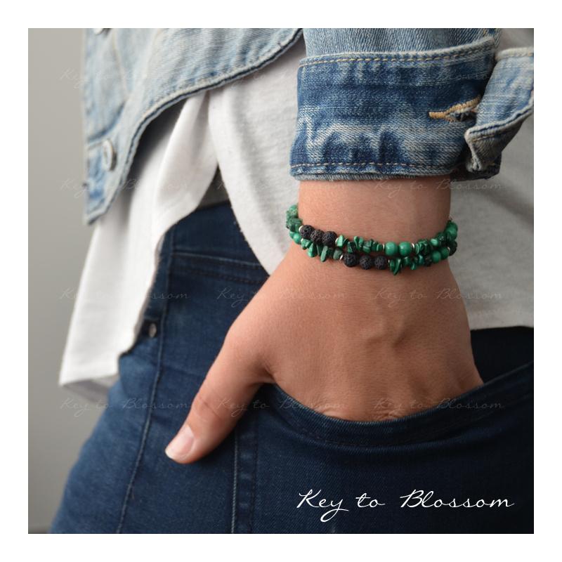 Lava Rock armband met edelstenen - Malachiet