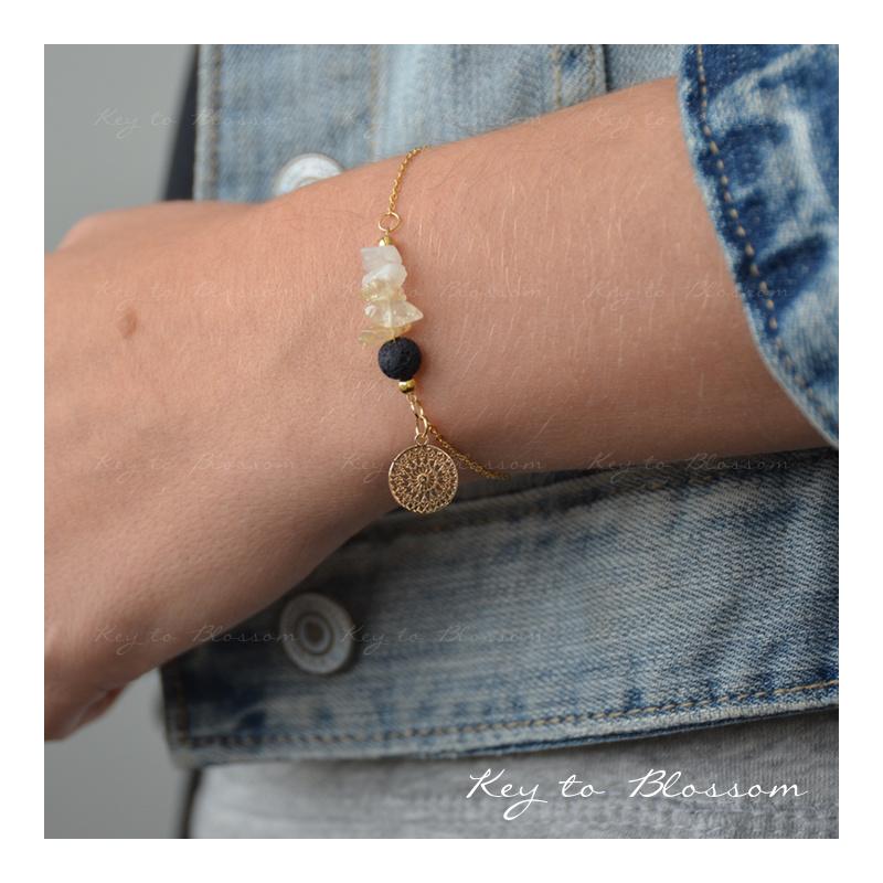 Lava Rock armband met edelstenen SPECIAL - Maansteen en Citrien
