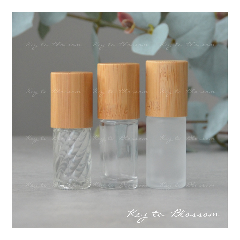 Glass Roller Bottle (5ml) with Bamboo Cap