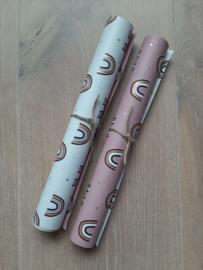 Kado Papier | Regenboog Wit met Roze | 5M x 30cm | Dubbelzijdig |