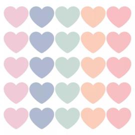 Stickers | hartjes mix pastel | 10 stuks |