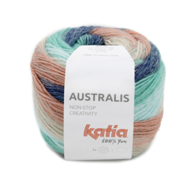 Katia Australis 206 koraal/ waterblauw/ jeans