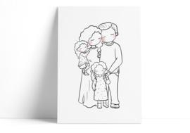 Familie - 2 dochters (krullend haar)
