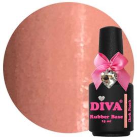 Diva Gellak Rubber Base Coat Dark Peach 15 ml
