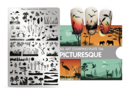 Moyra Stamping Plate 106 Picturesque gratis neon pigment