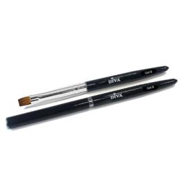 Gel penseel #8 Zwart met dop