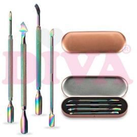 Metalen bokkenpoten set van 4 Cuticle Pusher in Rose Box