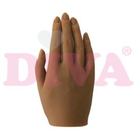 Siliconen hand rechts met standaard - Tawny