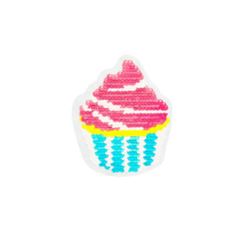 Strijkapplicatie omkeerbare pailletten cupcake