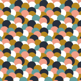 French terry colourful dots oker