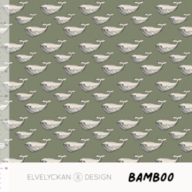 Elvelyckan - Bamboo Tricot - Mini Whales - Green