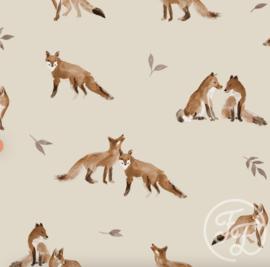 Family Fabrics - Fox Grey Leaves Jersey