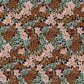 Organisch soft sweat bruin/lichtroze bloemen