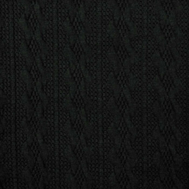 Jacquard knitted cable klein zwart