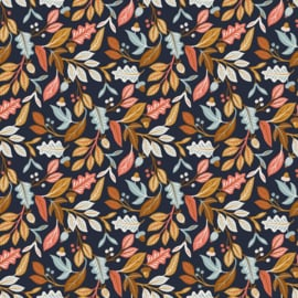 French terry autumn leaves navy