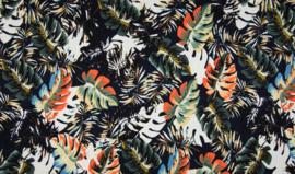 Viscose tricot navy met bladeren