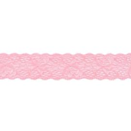 Rekbaar kant roze