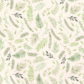 French terry brushed leaves ecru