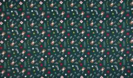 Katoen poplin groen met rendierkoppen