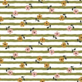 French terry flower stripes olijfgroen