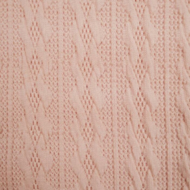 Jacquard knitted cable klein lichtroze
