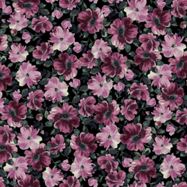French terry spring flowers zwart