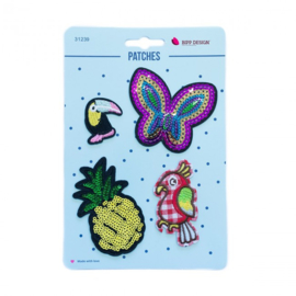 Strijkapplicatie vlinder ananas
