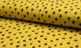 Piqué geel met zwarte palmbomen