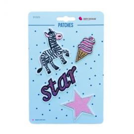 Strijkapplicatie zebra ster