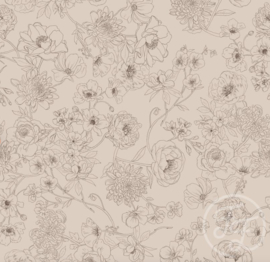Family Fabrics - Floralines Rose - French Terry