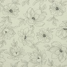Linnentricot flower outline naturel