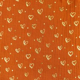 Organisch mousseline roest met gouden foil hartjes
