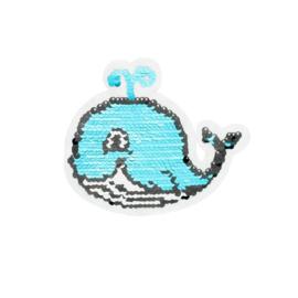 Strijkapplicatie omkeerbare pailletten walvis