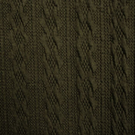 Jacquard knitted cable klein legergroen