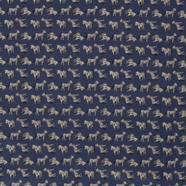Katoen indigo met zebra's