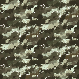 French terry camouflage groen