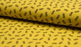 Piqué geel met zwarte ananassen