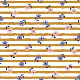 French terry flower stripes oker