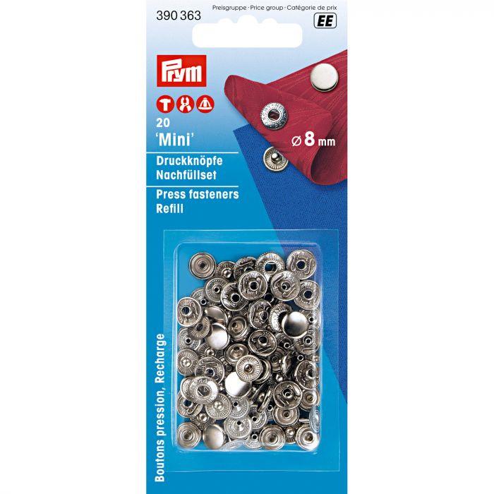 Prym drukknopen mini 8mm navulverpakking zilver gesloten